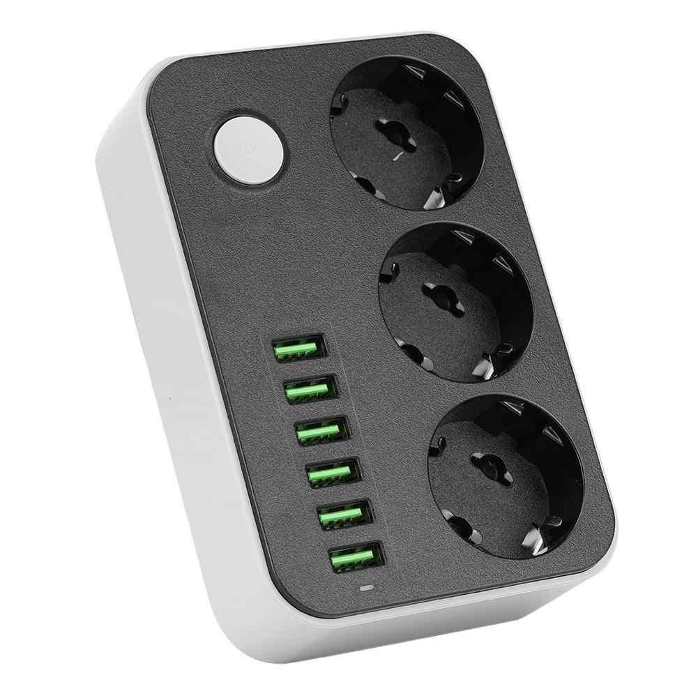 Wielofunkcyjna wtyczka EU inteligentne gniazdo listwy zasilającej 3 gniazda + 6 portów USB 3.4A 250V