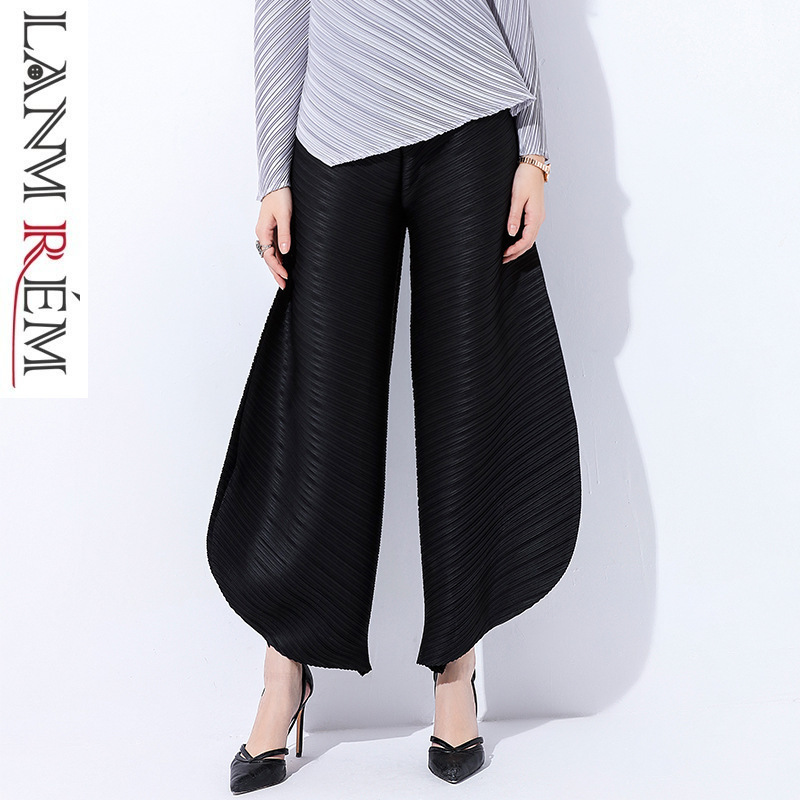 LANMREM 2019 New spring Fashion Black High Waist Elastic Pleated Woman Casual Ankle-length   Wide     Leg     Pants   SC066