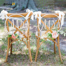 2pcs Mr Mrs Hanging Sign Wedding Decoration Party Wood Decor PhotoBooth Supplies for Chair Decorating Photo Shoot Props