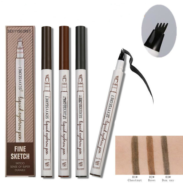 Waterproof Microblading Pen Paint For Eyebrow Tattoo Pen 4 Heads Liquid Eye Brow Makeup Ink Pencil Beauty Cosmetic Long Lasting 1