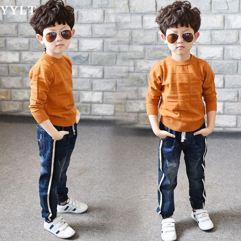 Image 3 - Джинсы для мальчиков ограниченной Свободные Однотонная повседневная обувь на осень джинсы для мальчиков детские модные джинсы, для От 3 до 5 лет От 6 до 14 лет-in Джинсы from Мать и ребенок