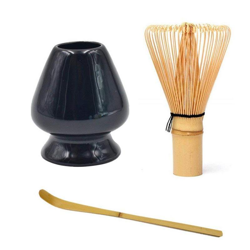 Matcha Green Tea Whisk Set - Tea Whisk + Scoop + Tea Spoon + Deep Whisk Holder Bamboo Janpanese Style Tea Set Accessories