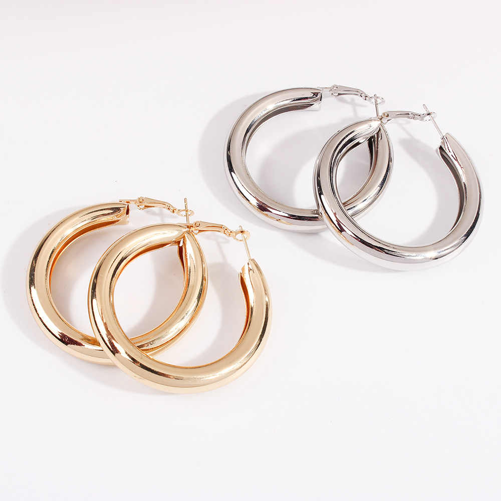 2019 New Arrival Gold Silver Color Circle Drop Earrings Simple Alloy Big Round Wives Drop Earrings Gifts For Women Party Gift