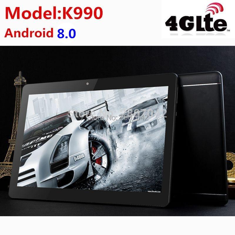 10 pouces Tablet pc K990 Android 8.0 Octa Core 4 GB RAM 64 GB ROM double sim WiFi FM IPS appel téléphonique 3G GPS Comprimés + cadeaux