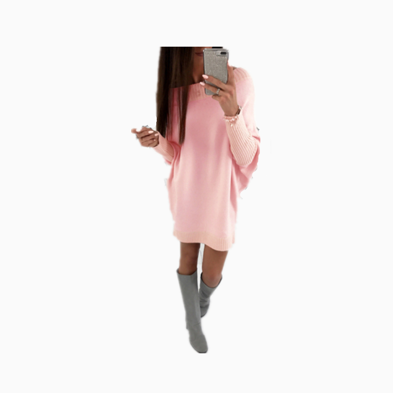 Autumn Winter Dress 2018 High Quality Loose Casual Dress O-neck Long Sleeve Knee-length Black Pink White Knit Dress