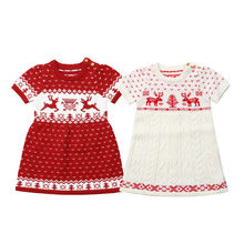 2018 Cute Kids Baby Girls Christmas Knitting Dress Girl Short Sleeve Deer Print Wool Sweater Dress Knitwear Xmas Clothes 6M-5Y(China)