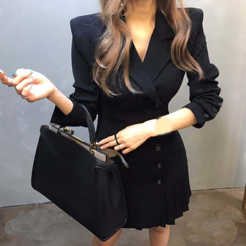 2019 été femmes haut Wais plissé ourlet Patchwork Blazer solide à manches longues bouton costume col en v T bureau robe
