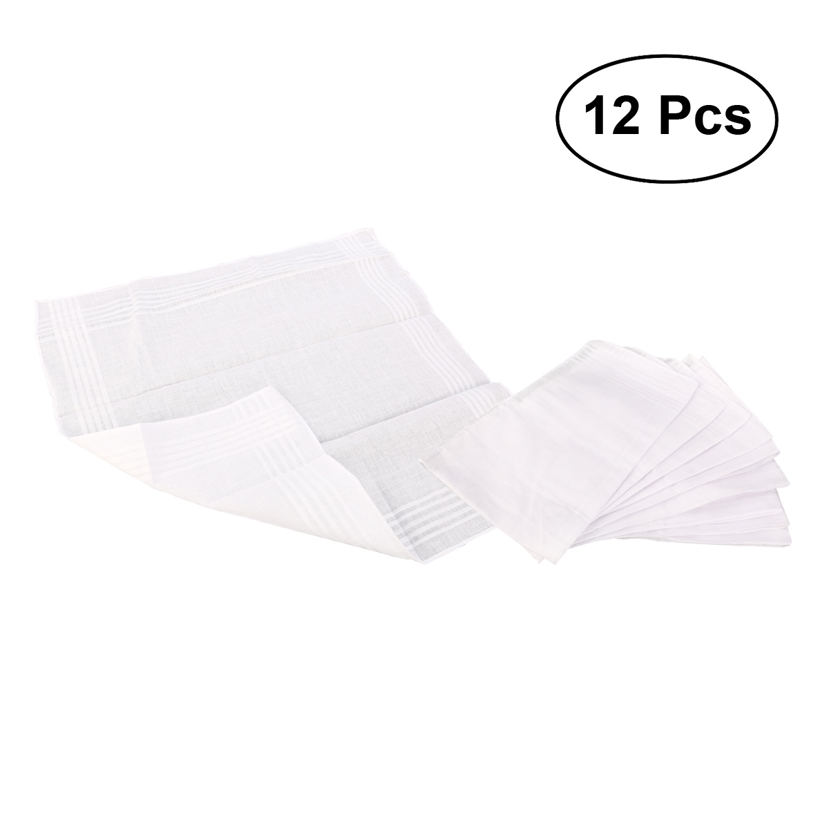 12pcs White Cotton Handkerchiefs Cotton Towels Hankerchief For Men Women Children Kids (38 * 38cm)