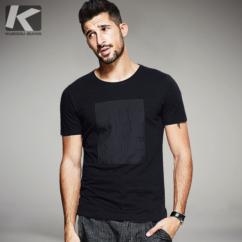 New Summer Mens T-Shirts Patchwork Black Color Brand Clothing Man's Short Sleeve Slim T Shirts Male Tops Tees Plus Size 0311