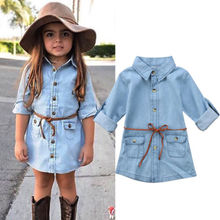 Одежда для маленьких девочек джинсовые короткие мини-платья джинсовые Повседневные Вечерние платья-рубашки с длинными рукавами и поясом для девочек