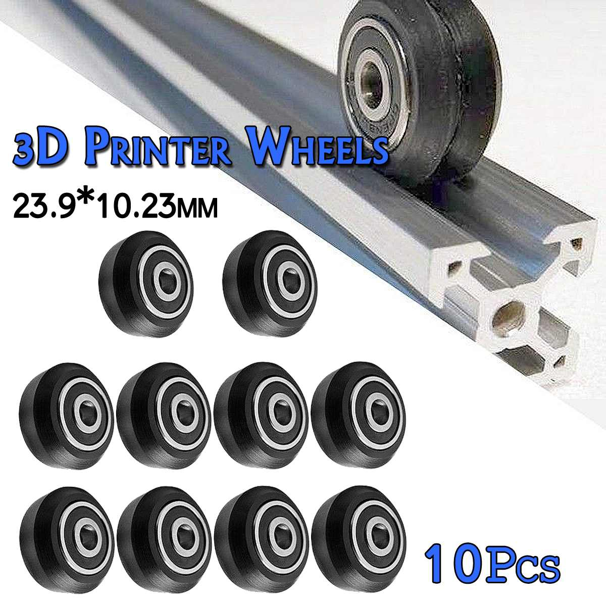 10Pcs/Set 23.9x10.23mm Black Delrin Single V Wheel Kit For V-Slot Aluminium Profile 3D Printer Accessories Single V Wheel Kit