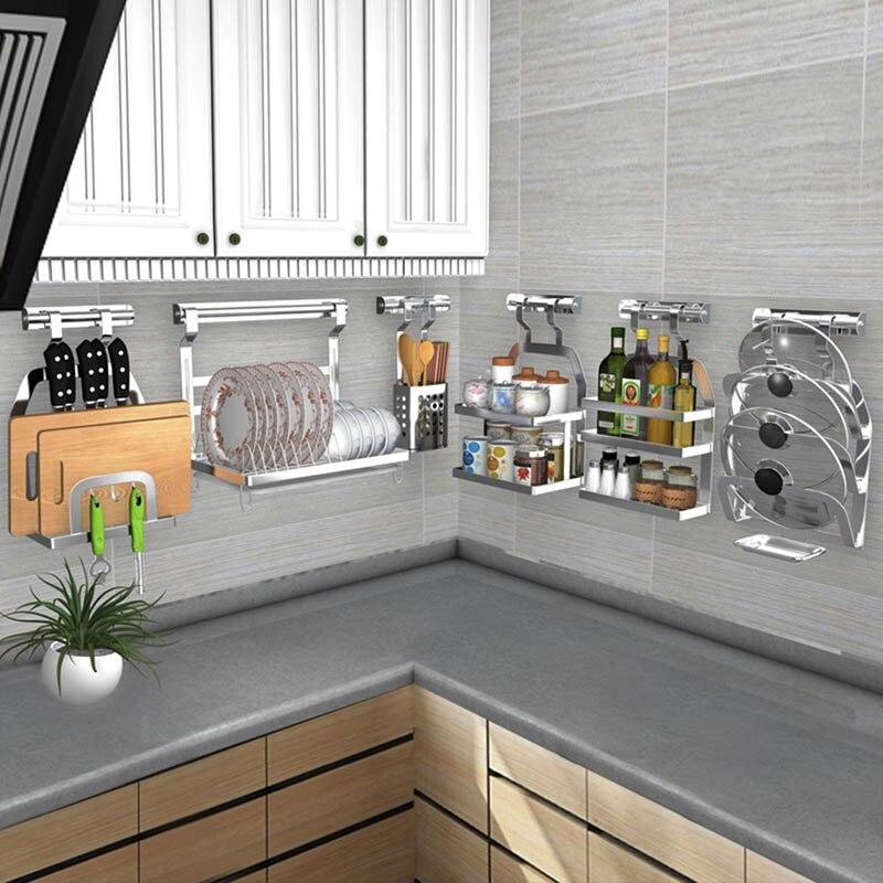 DIY 304 Stainless Steel kitchen rack Kitchen Shelf Pot Spoon Knife Seasoning Dish Rack Shelf No