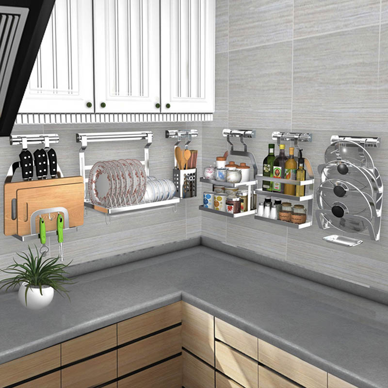 DIY 304 Stainless Steel Kitchen Rack, Kitchen Shelf, Pot Spoon Knife Seasoning Dish Rack Shelf No Punching