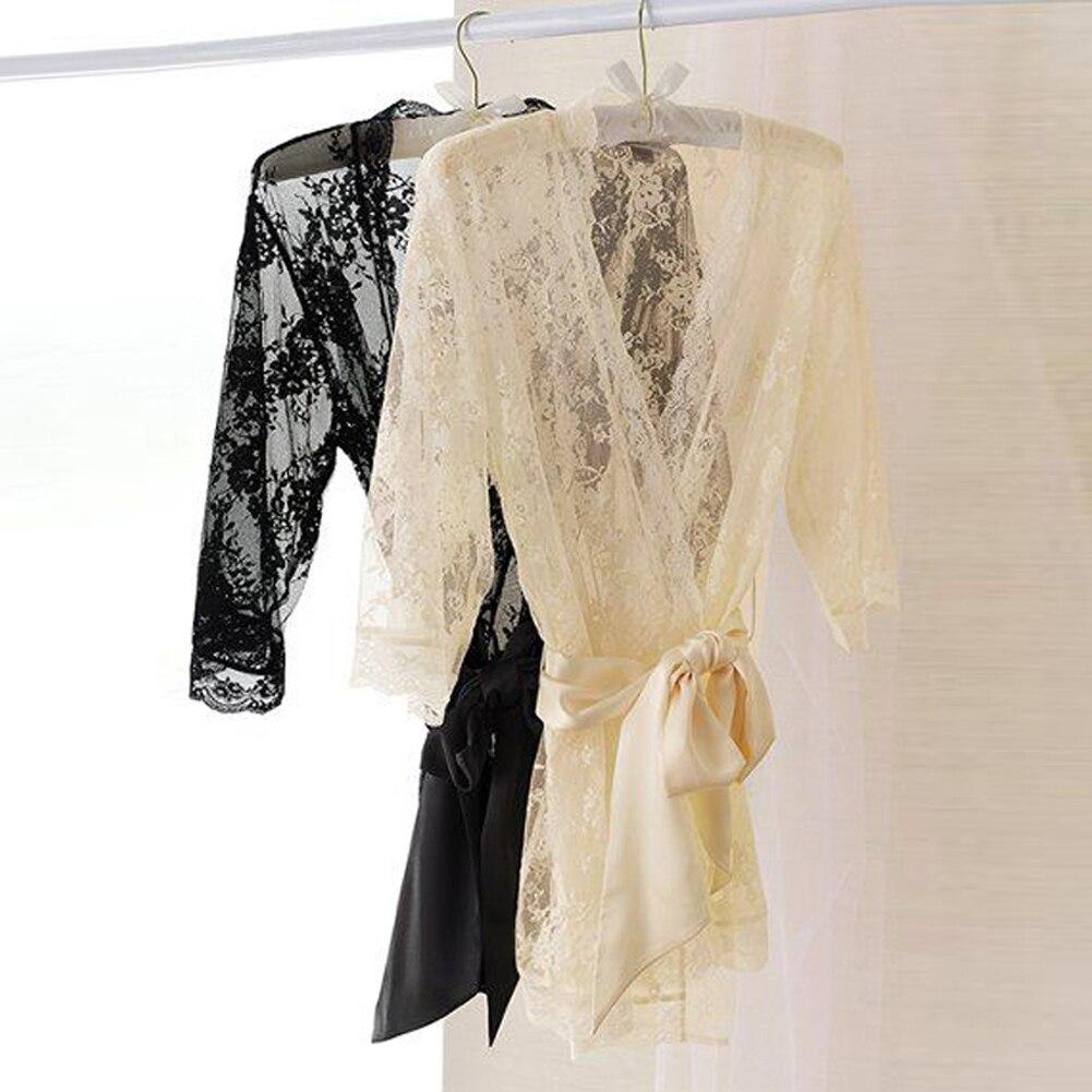 Schlaf-oberteile Unterwäsche & Schlafanzug Thefoind Frauen Brautjungfer Satin Robe Kimono Hochzeit Feste Spitze Nachthemd Nachtwäsche Dressing