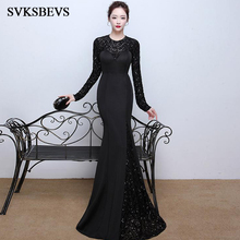 SVKSBEVS Luxury Crystal O Neck 2019 Sequined Mermaid Long Dresses Elegant Sleeve Open Back Party Maxi Dress
