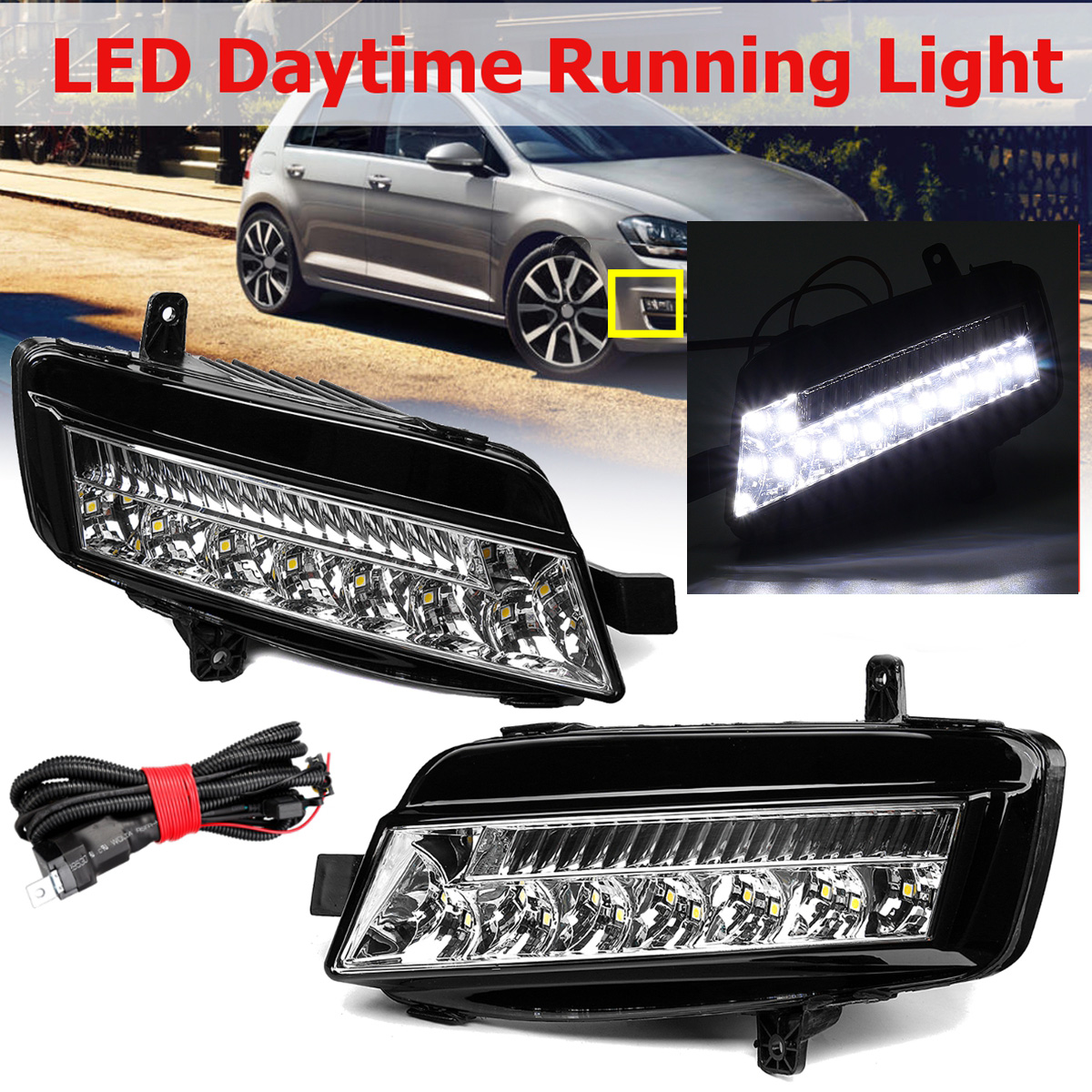 For VW Golf 7 MK7 2014 2015 2016 2017 1 Pair LED DRL Daytime Running Lights Fog Light Fog Lamp Car-styling Headlights Head LampFor VW Golf 7 MK7 2014 2015 2016 2017 1 Pair LED DRL Daytime Running Lights Fog Light Fog Lamp Car-styling Headlights Head Lamp