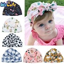 Wecute Newborn Baby Hat Flower Bowknot Baby Cap Infant Girl Hospital Cap Soft Cotton Toddler Knit Newborn Baby Photography Props yundfly knit baby hat newborn photography props candy color flower beanie cap baby fotografia hair accessories