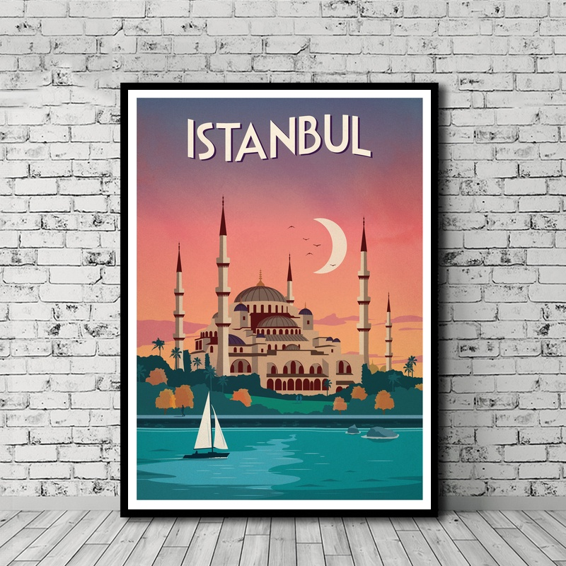 Vintage Travel Poster <font><b>Istanbul</b></font> Poster Canvas Print Wall Art Decor No Frame image