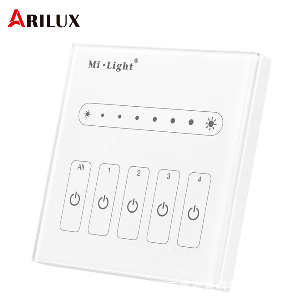 arilux milight l4 ac100 240v to 0 10v 4 channel t ouch panel single color led strip light dimmer