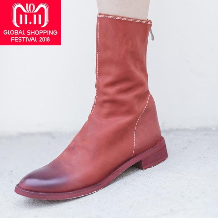 {Zorssar} 2018 Nouveau En Cuir Véritable à mi-mollet bottes plat Femmes Chelsea bottes chaussures plates zapatos mujer botas invierno Grande Taille 43