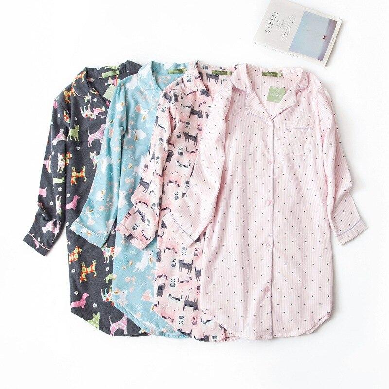 Winter Casual Nightdress Women Polka Dot Sexy   Nightgowns     Sleepshirts   100% Brushed Cotton Fresh Simple Women Homewear Dress 8446