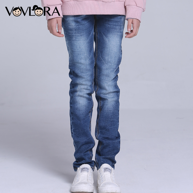 Kids Jeans Pants Straight Enzyme Wash Girl Jeans Trousers Mid Casual Denim Children Clothing Spring 2018 Size 9 10 11 12 13 14 Y