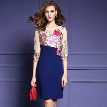 Embroidery Party Dress Patchwork Pencil dress luxury