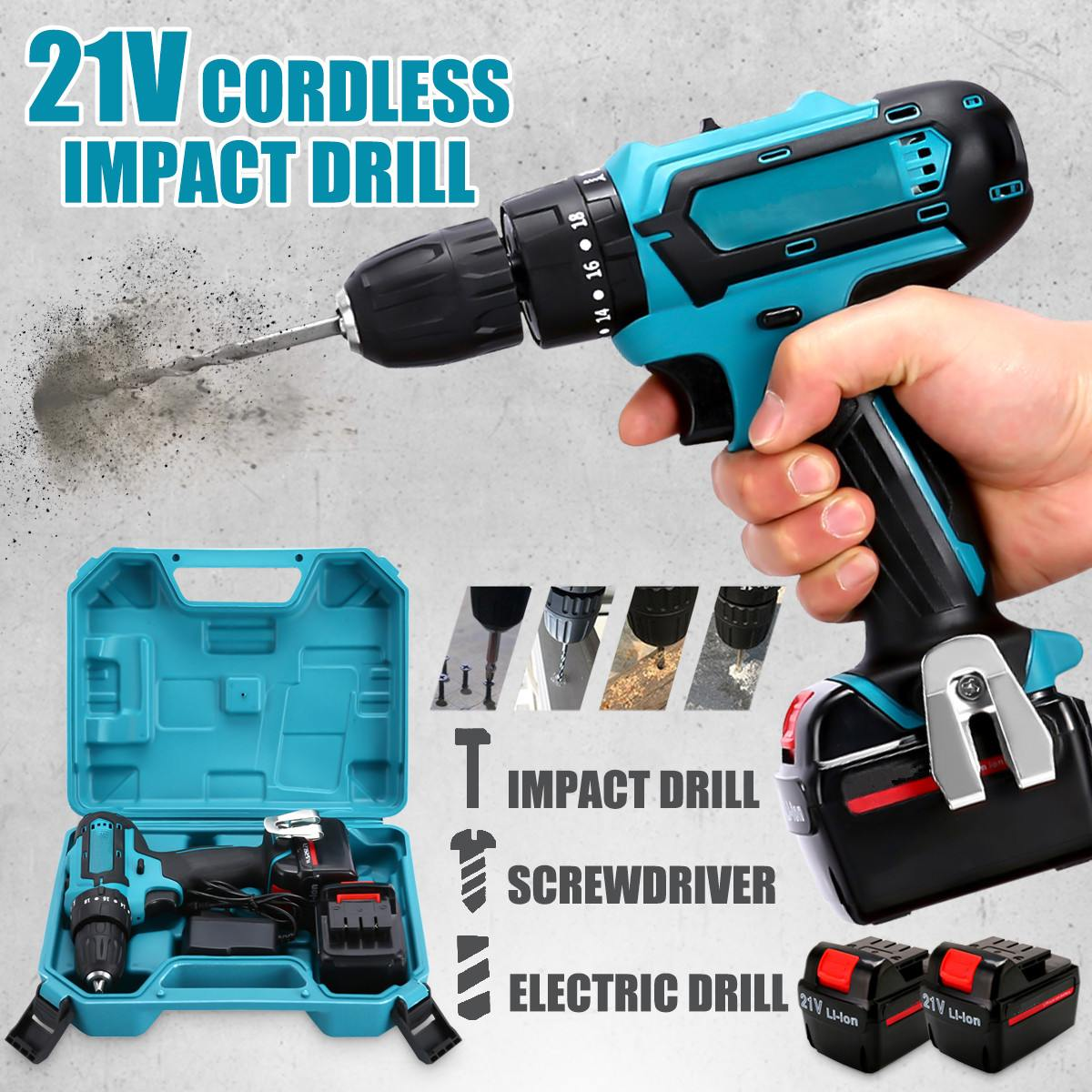 21V Cordless Impact Power Drill Rechargeable 2 Speed Electric Screwdriver Driver with 2 Batteries spta 4 100mm genuine wool buffing ball polishing pad ball hex shank turn power drill or impact driver high speed polisher