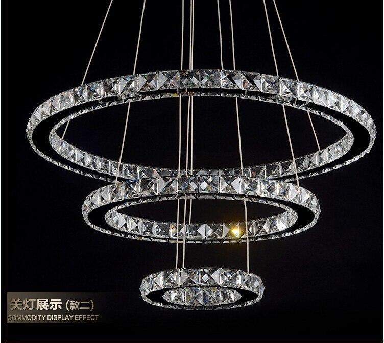 Acier inoxydable trois-K9 lustre en cristal lustre en cristal éclairage Dimmable Led lustre salon Restaurant