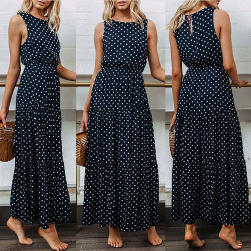 2019 Bobo Women Dark Blue Boho Loose Sleeveless Holiday Dot Print Long Maxi Dress Evening Party Beach Dresses Summer Sundress