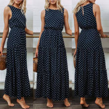 2019 Bobo Women Dark Blue Boho Loose Sleeveless Holiday Dot Print Long Maxi Dress Evening Party Beach Dresses Summer Sundress(China)