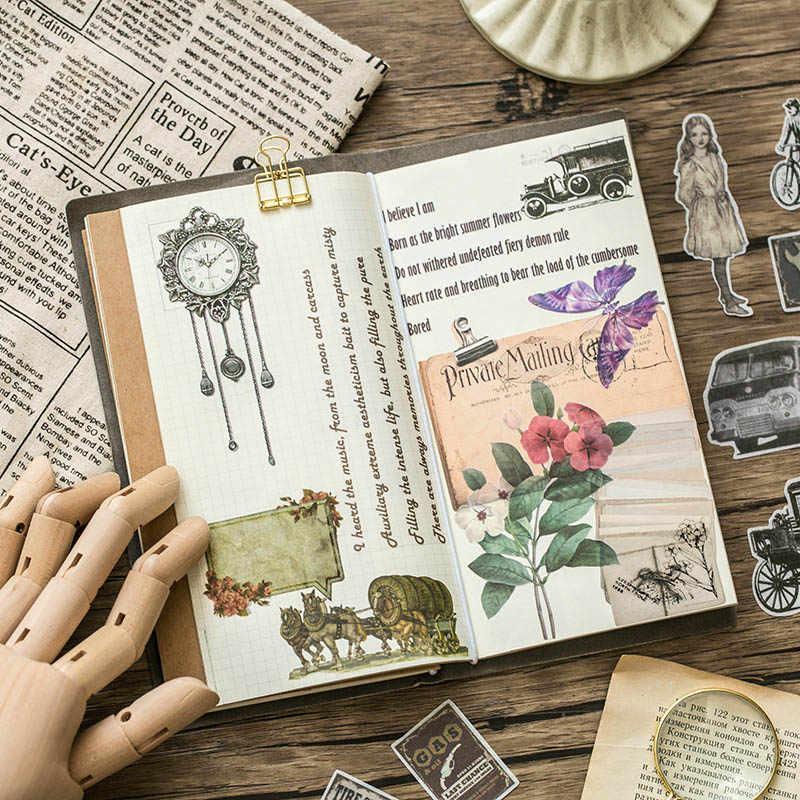 60 قطعة ملصقات السفر Vintage النباتات الخضراء الرجعية الزهور اشي ورقة القرطاسية ملصقات الزينة سكرابوكينغ مذكرات ألبومات
