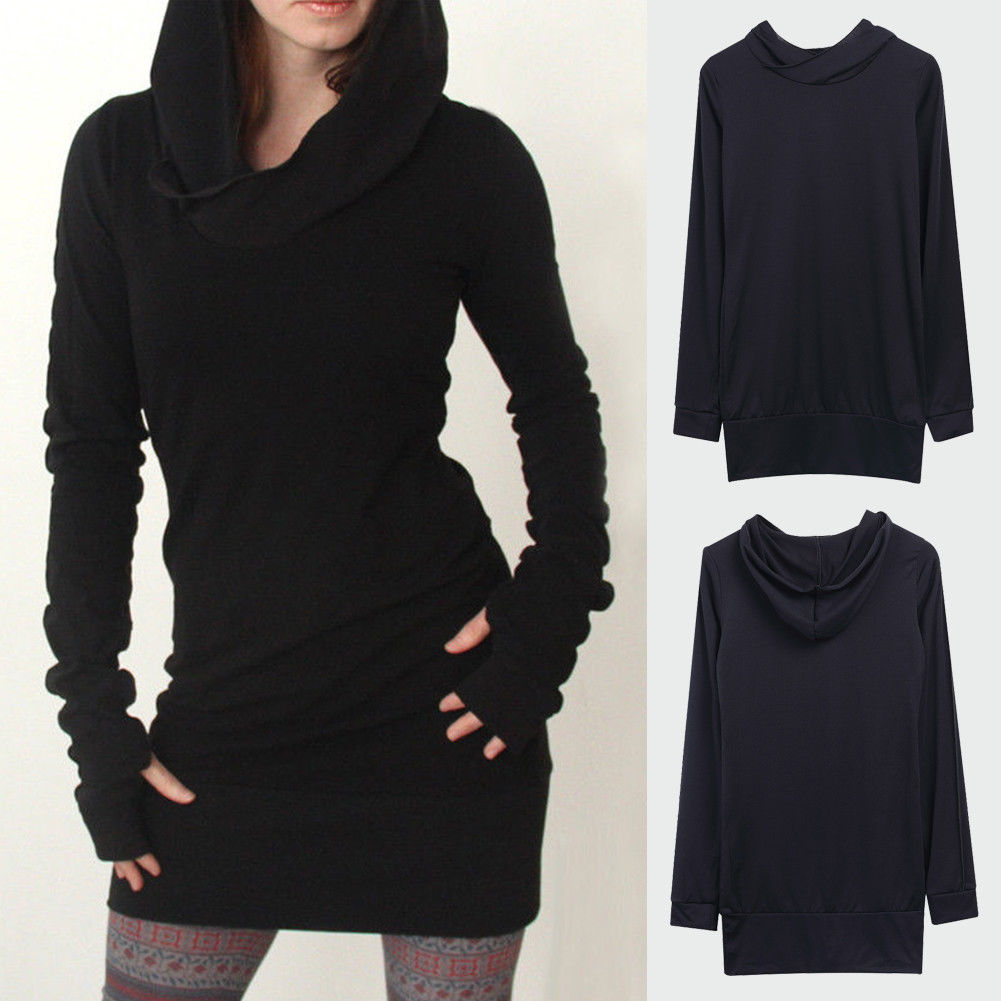 Women's Cotton Casual Long Sleeve Black Pencil Hoodies Sweatshirt Laides Long Tops Sweat Shirt Hoody Sweatshirt Mini Dress