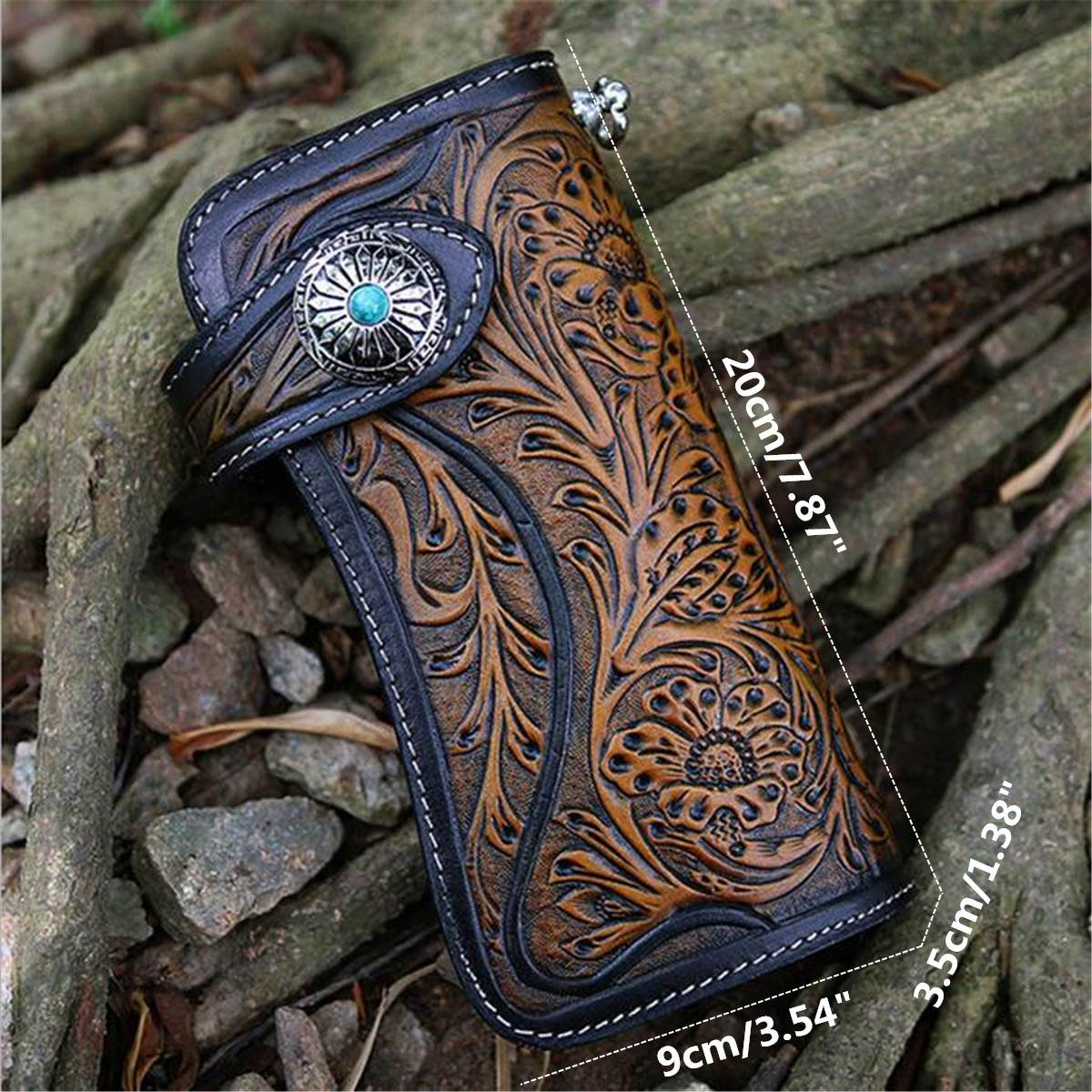 Skull Concho Mens Vintage Biker Carved Leather Bifold Long Wallet Purse w// Chain