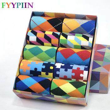 2020 gorąca sprzedaż męskie skarpetki na co dzień nowe skarpetki moda projekt Plaid kolorowe szczęśliwy biznes sukienka na imprezę bawełniane skarpetki człowiek tanie i dobre opinie FYYPIIN STANDARD NYLON spandex Poliamid COTTON A0124 Załoga Skarpety The high quality In tube socks US (7 5-12) EUR(40-46)