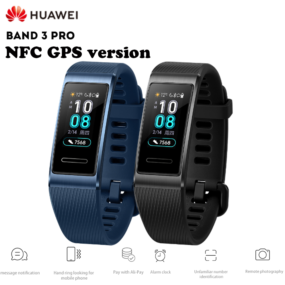 Bracelet intelligent HUAWEI Band 3 Pro Bracelet étanche GPS NFC moniteur de fréquence cardiaque 5ATM suivi du sommeil bande intelligente de contrôle tactile