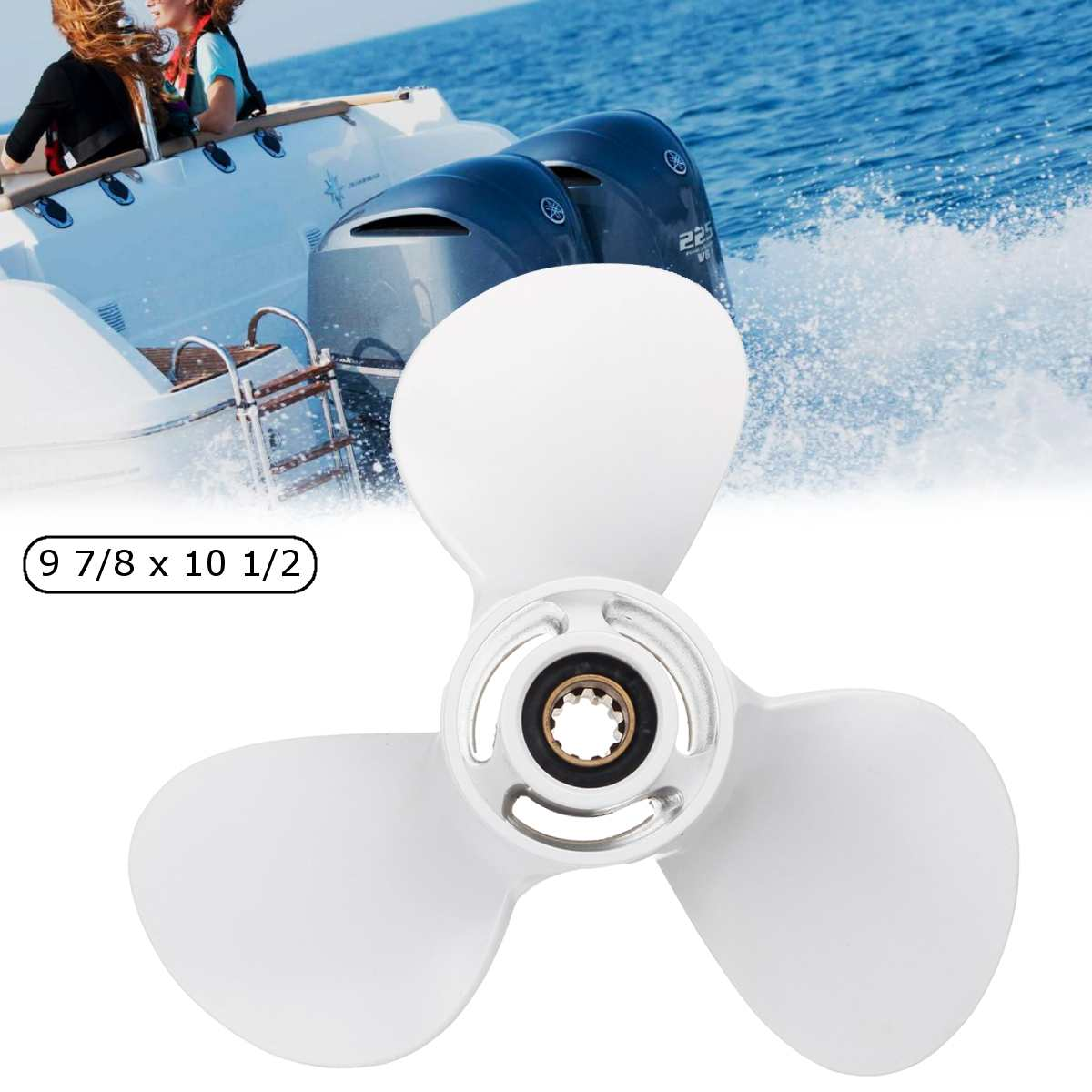 664-45945-00-EL Aluminum Alloy 9 7/8 X 10 1/2 Outboard Propeller For Yamaha 20-30HP White 3 Blades 10 Spline Tooth R Rotation