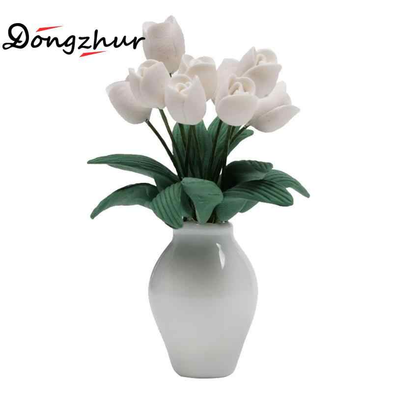 Dongzhur Miniatura Flower Dollhouse Miniatures 1:12 Accessories Mini Jardiniere Bedroom Scene Decoration Dolls House Furniture