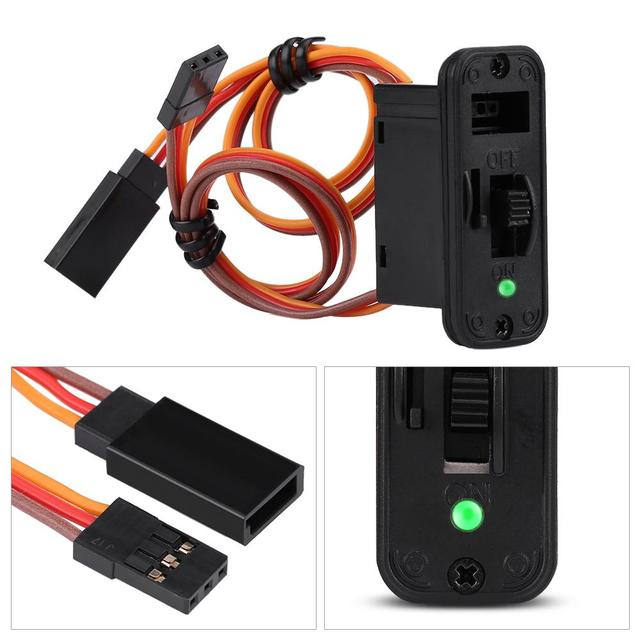 Conectores de interruptor RC 1 interruptor RC de alta resistencia con pantalla LED JR RC On Off conectores accesorio para receptor RC Accesorios