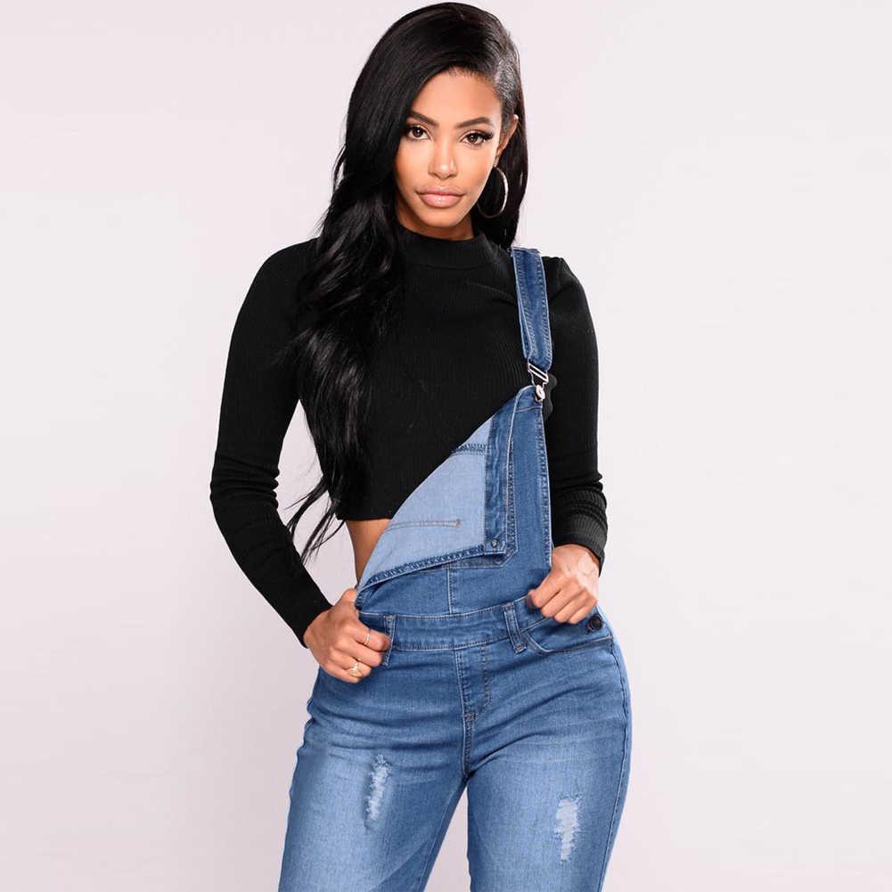 2019 новый женский джинсовый комбинезон рваные эластичные комбинезоны с высокой талией длинные джинсы брюки-карандаш карандаш комбинезон комбинезон синие джинсы комбинезон