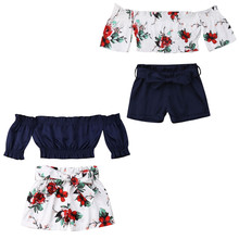 6c56a863feeb Toddler Kids Baby Girl Flower Off Shoulder Crop Tops Shorts Outfits Sunsuit  1-6Y(
