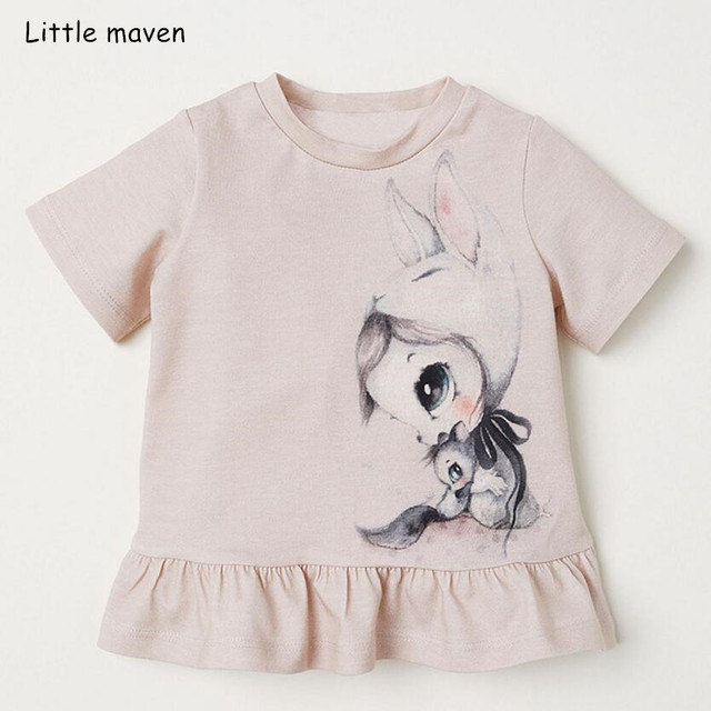 a57660f7adc06 US $7.11 40% OFF|Little maven children clothes 2019 summer baby girls  clothes short sleeve tee tops Bunny print Cotton brand t shirt 51297-in  Tees ...
