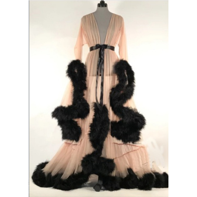 Luxury Sexy Lace Night Robe Women Kimono Night Maxi Dress Gown Mesh Long Sleeve Fur Babydoll Party Sleepwear Nightgrown Robes