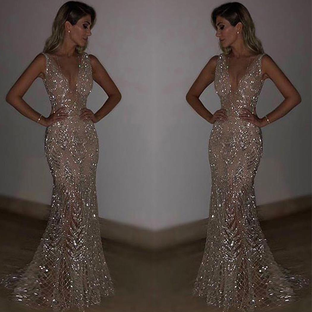 AL'OFA Women Elegant Evening Dress Sexy Deep V Neck Sleeveless Sequins Party Prom Dress Fishtail Evening Dresses