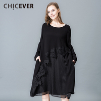CHICEVER 2018 Spring Hem Irregular Women Dress Patchwork Lace Long Sleeve Loose Big Size Black Dresses Female Fashion Vestidos