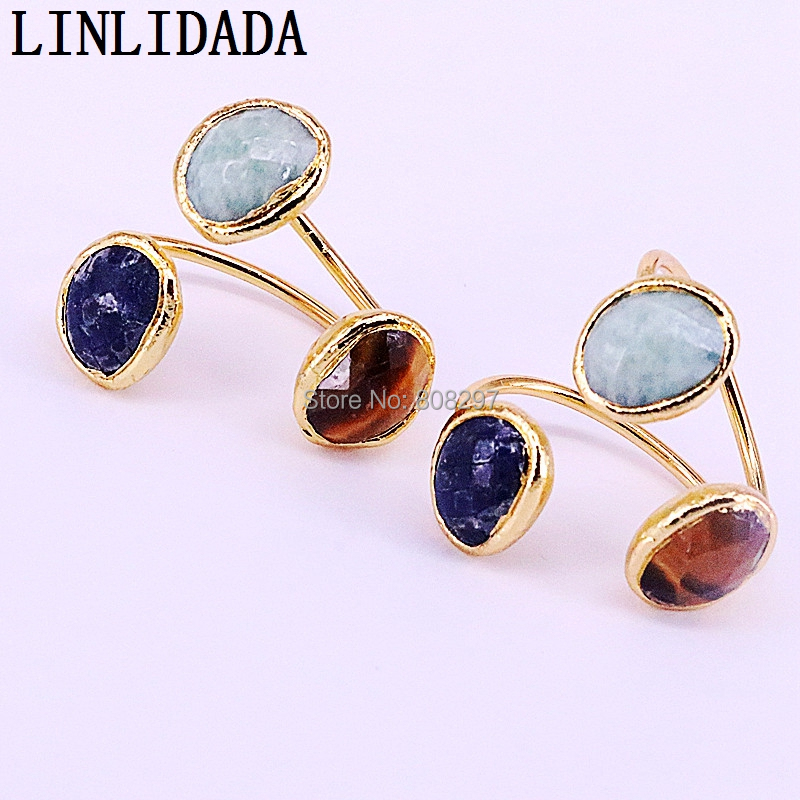 5Pcs Nature stone adjustable metal cuff Rings Gold Electroplated Gem Rings For Women Party Jewelry