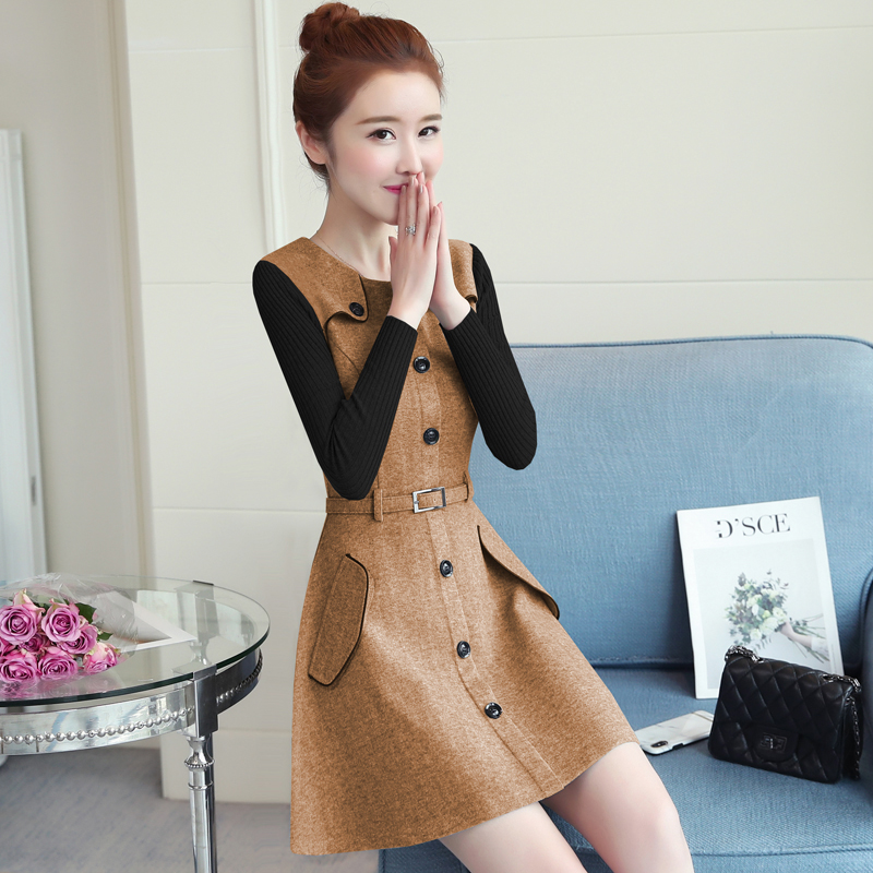 winter new round collar single-breasted cloth dress belt buttons A word women dresses Korean fashion outfit lady vogue vestido 5