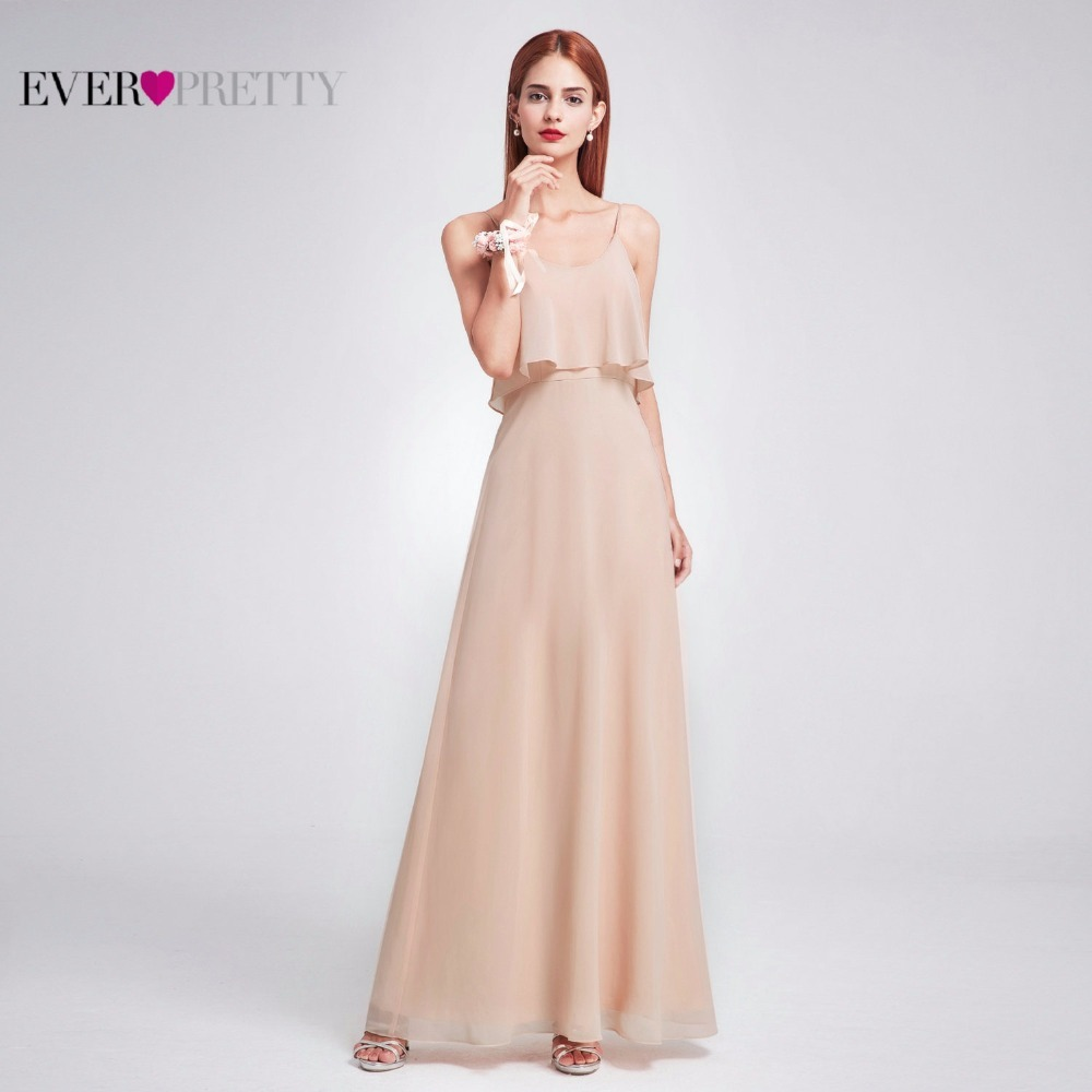Simple Chiffon   Bridesmaid     Dress   Ever Pretty EP07131 Sexy A-line Backless Cheap Wedding Guest   Dress   2019 Blush Long Party   Dress