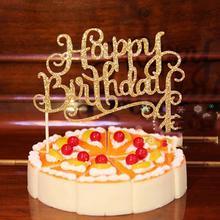 Golod/серебряные хрустальные стразы, блестящий Топпер для торта «С Днем Рождения», юбилей, детский Декор для дня рождения, украшения для торта