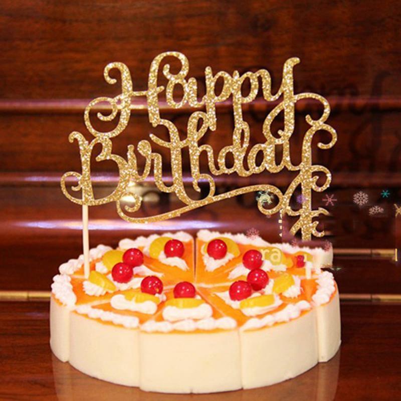 Golod/silver Crystal Rhinestone Shiny Happy Birthday Cake Topper Anniversary Kids Birthday Party Decor Cake Topper
